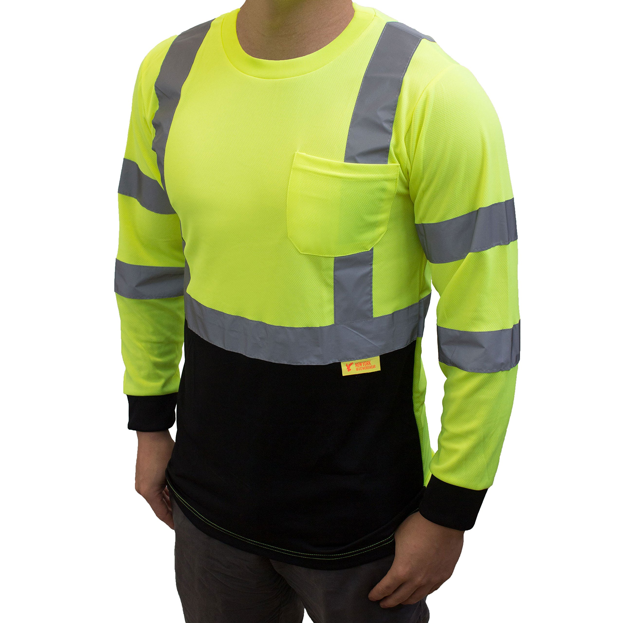 NY BFL8712 High-Visibility Class 3 T Shirt with Moisture Wicking Mesh Birdseye, Black Bottom (Large, Green)