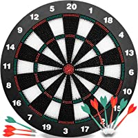 Safety Darts and Kids Dart Board Set - 16 Inch Rubber Dart Board with 9 Soft Tip Darts for Children and Adults, Office and Family Time