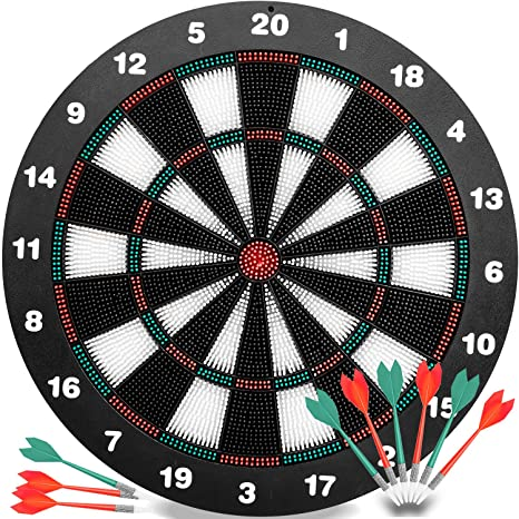 Merveilleux INNOCHEER Safety Darts And Kids Dart Board Set   16 Inch Rubber Dart Board  With 9