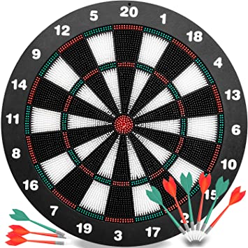 Delightful Safety Darts And Kids Dart Board Set   16 Inch Rubber Dart Board With 9 Soft