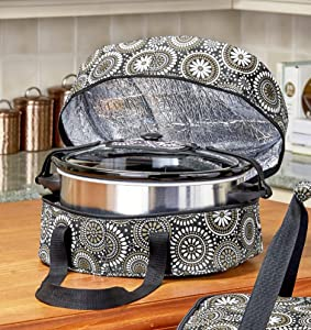 Slow Cooker Carrier - Insulated Food Carrier for Potlucks, Parties - Gray Damask