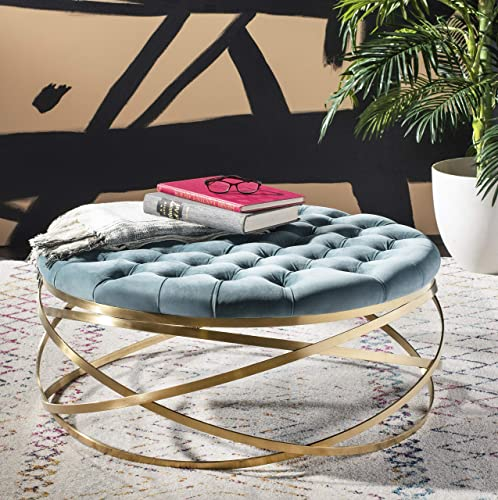 Safavieh Home Collection Rumi Seafoam and Gold Tufted Velvet Ottoman,