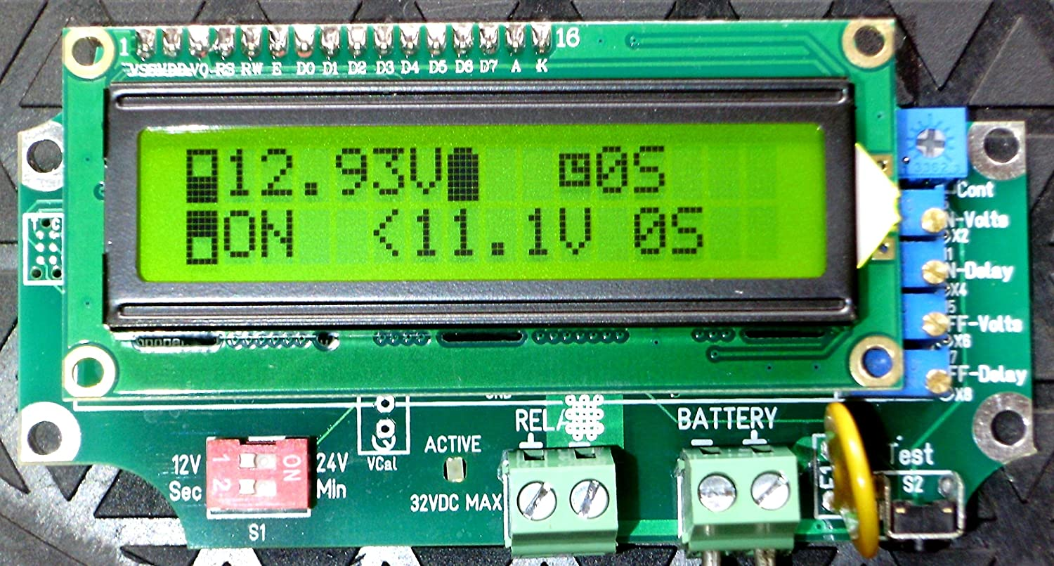 WindAndSunPower.com 1 Universal Relay Voltage Triggered Load Controller with Delays, Circuit Board Only 1URVTLC-1224-B Green LCD