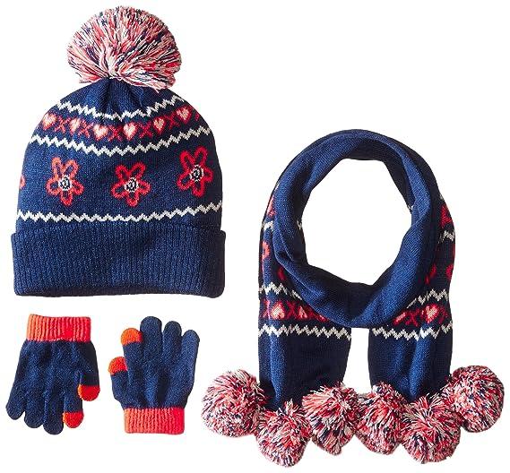 4a5cf0d5537 Amazon.com  Pink Platinum Girls  Hat Glove Scarf 3pc Set-Flower ...
