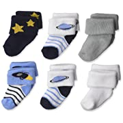 Luvable Friends Newborn Baby Terry Socks, 6 Pack, Space, 0-3 Months