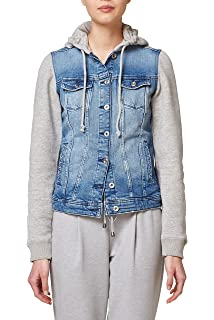 Boohoo Damen Weste Denim Gilet with Mock Hoody, Blau, 38  Amazon.de ... 0c48db616e
