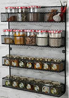 4 Tier Wall Mounted Spice Rack Storage Black, Perfect Spice Rack Organizer