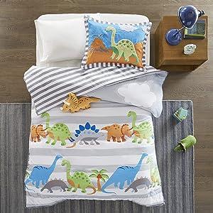 Mizone Kids Dinosaur Dreams Twin Kids Bedding Sets for Boys - Grey, Blue, Dinosaur – 3 Pieces Boy Comforter Set – Ultra Soft Microfiber Kid Childrens Bedroom Comforters, Ivory (MZK10-034)