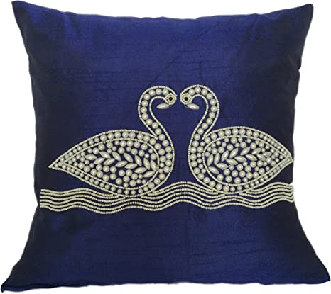 The White Petals Indigo Blue Decorative Pillow Cover Swan Throw Pillow Embroidered Accent Pillow For Bed Couch 16x16 Inches Home Kitchen