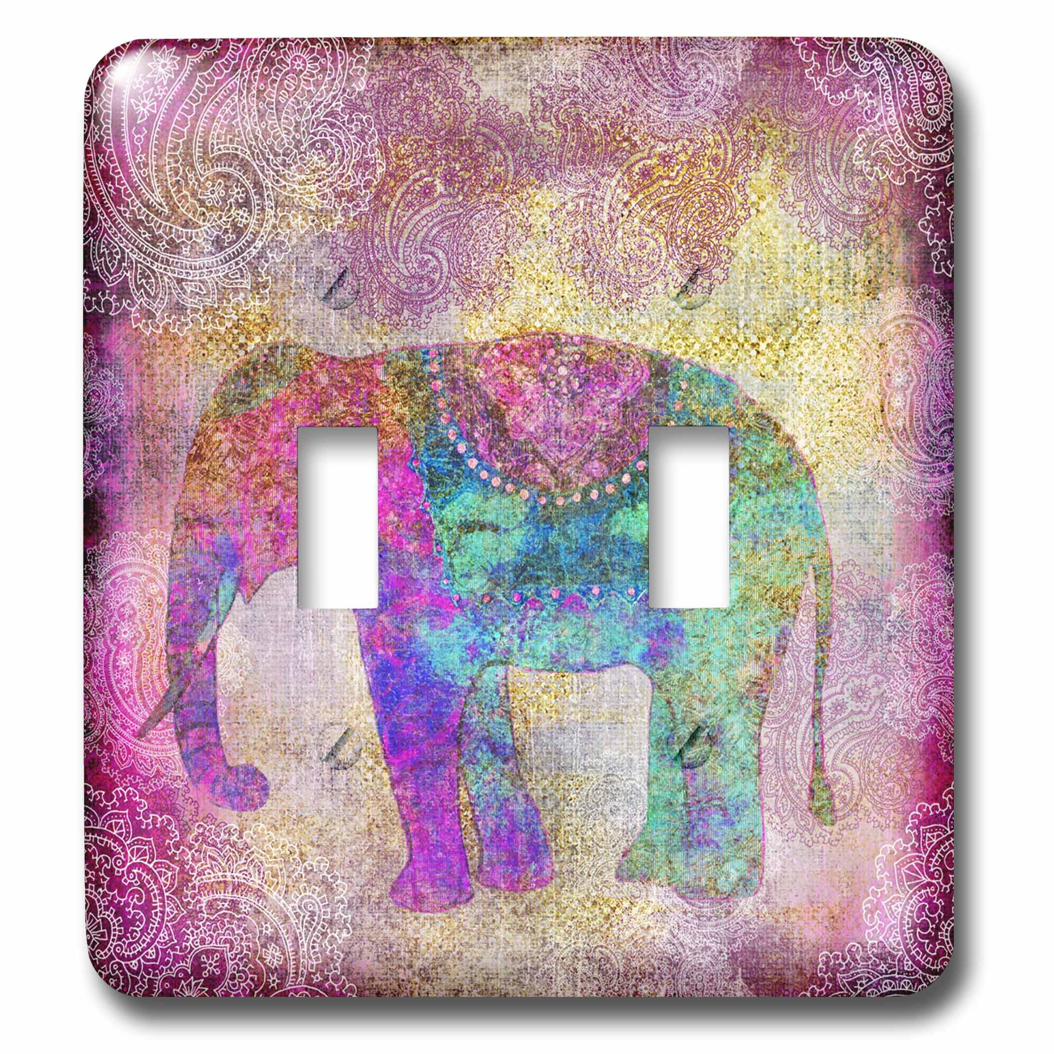 3dRose Andrea Haase Animals Illustration - Elephant India style with golden ornament pattern background - Light Switch Covers - double toggle switch (lsp_266474_2)