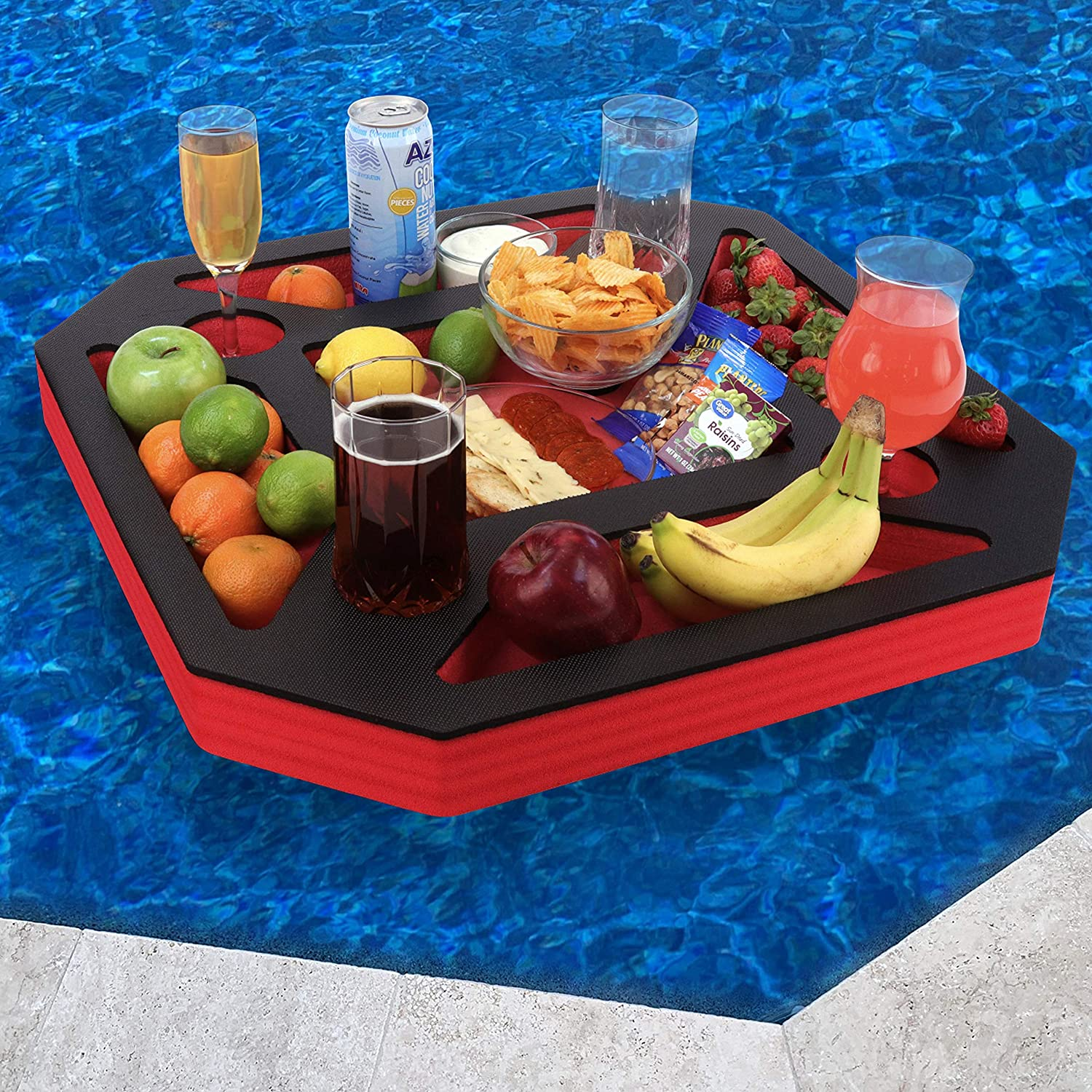 Polar Whale Floating Spa Hot Tub Bar Drink and Food Table Red and Black Refreshment Tray for Pool or Beach Party Float Lounge Durable UV Resistant