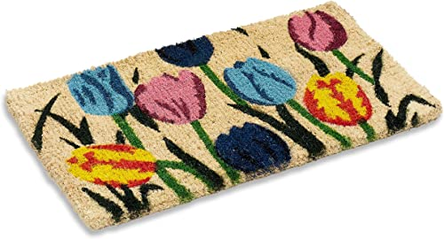 Natural Multi Tulip Design Indoor Outdoor Woven Coir Mat, 18 by 30 by 1-inch, Front Door Welcome Mat for Entryways