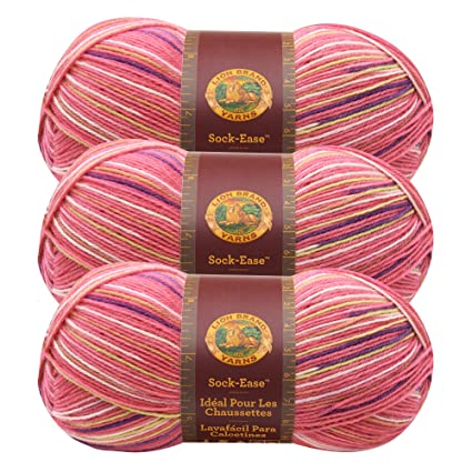 (3 Pack) Lion Brand Yarn 240-205L Sock-Ease Yarn, Cotton