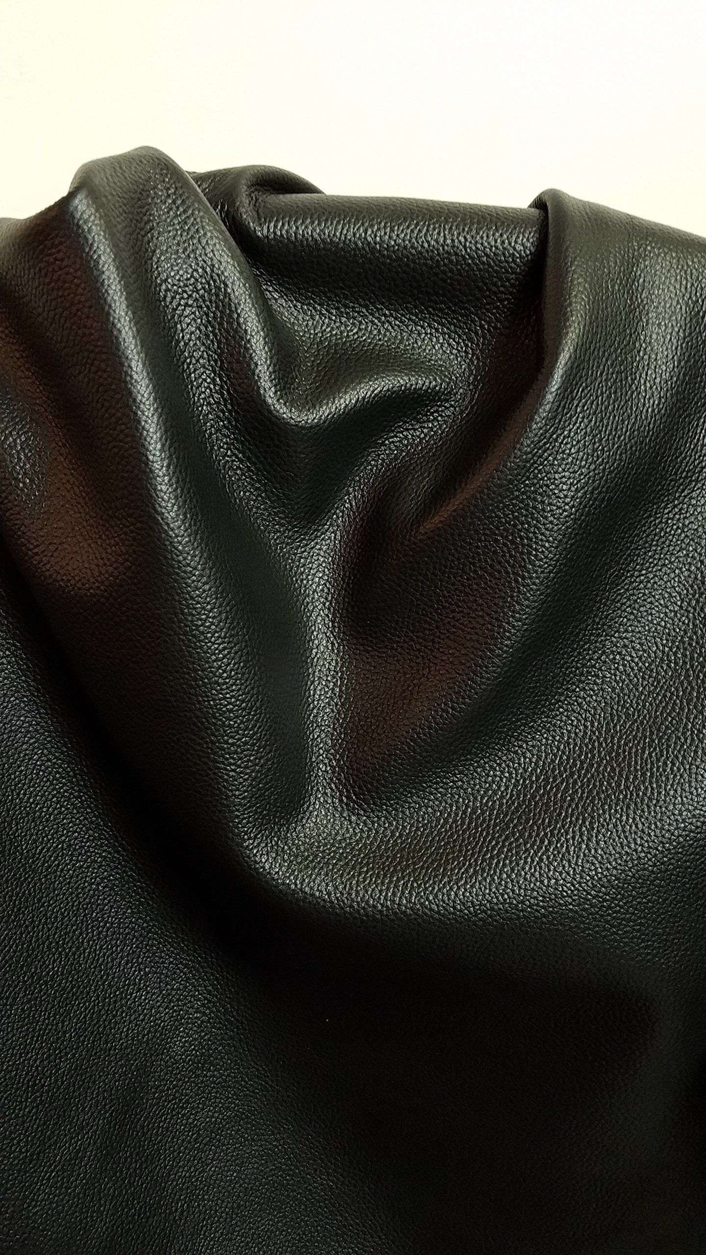 Black Upholstery pebbled Grainy Cow Cowhide Genuine Leather various size (20 sf) 2.5 oz Soft NAT Leathers