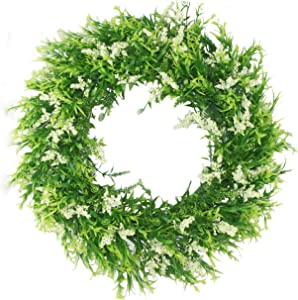 Delicaft Plastic Green Leaves Wreath16 Artificial Lavender Wreath for Front Door Wall Window Party Décor, Indoor/Outdoor Use