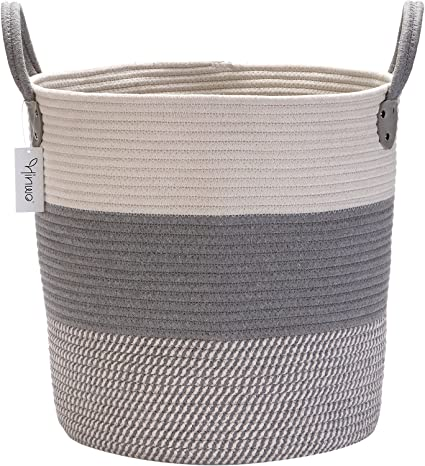Hinwo Corde en coton pliable Panier de rangement Panier à linge Chambre  d\'enfant de stockage Bin Container Organiseur avec poignées, 39,9 x 32 cm,  ...