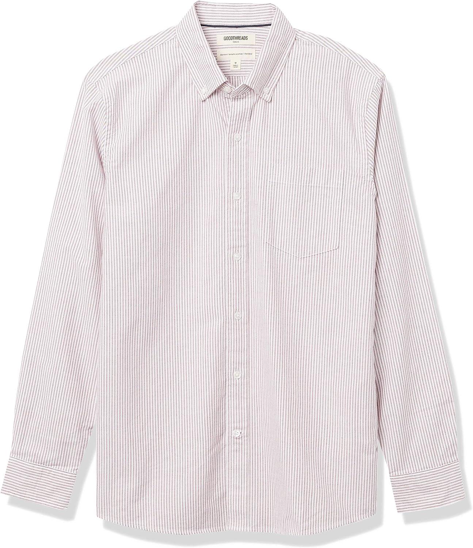 Amazon Brand - Goodthreads Men's Standard-Fit Long-Sleeve Striped Oxford Shirt w/ Pocket