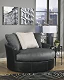 """Benchcraft Masoli Collection 1420021 58"""" Oversized Swivel Accent Chair with Fabric and Faux Leather Upholstery Sleek Rounded Track Arms Stitched Detailing and Contemporary Style in"""