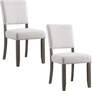 Leick Home 10186BB/HG Wood Upholstered Back Dining Chair with Heather Gray Seat, Set of 2
