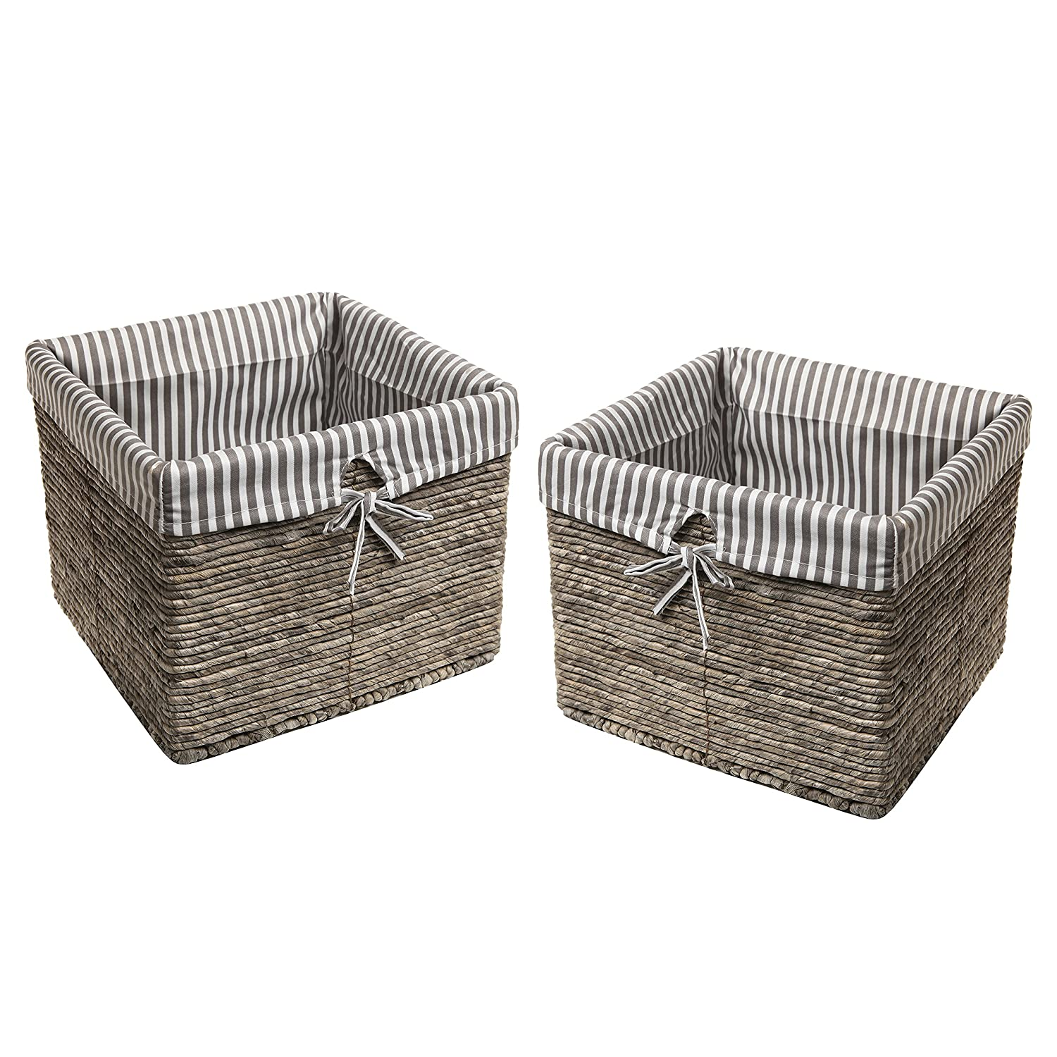 2 Gray Rattan Woven Stripe Fabric Lined Laundry / Magazine / Home Storage Basket