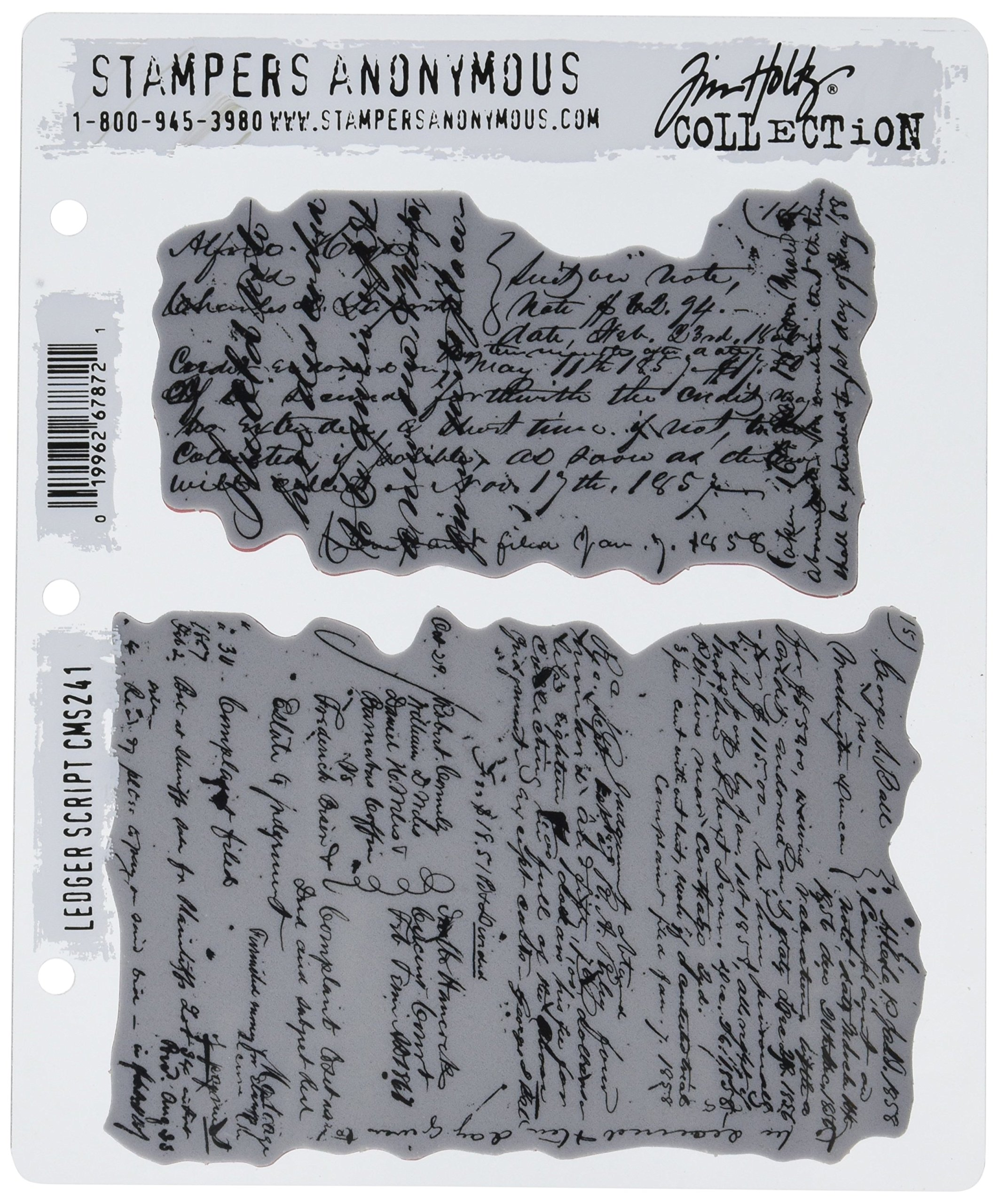 Stampers Anonymous Tim Holtz Cling Rubber Stamp Set, 7'' by 8.5'', Ledger Script