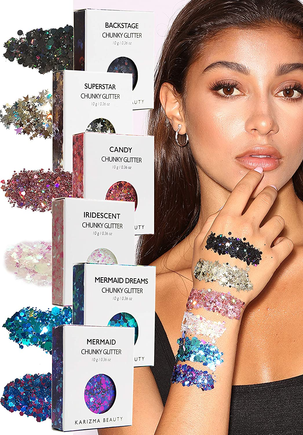Face Glitter Pack ✮ KARIZMA Beauty ✮ 60g Festival Glitter Cosmetic Chunky Face Body Hair Nails