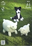 King Cole 9010 Knitting Pattern Sheep Lamb and Sheepdog Toys to knit in King Cole Chunky and DK