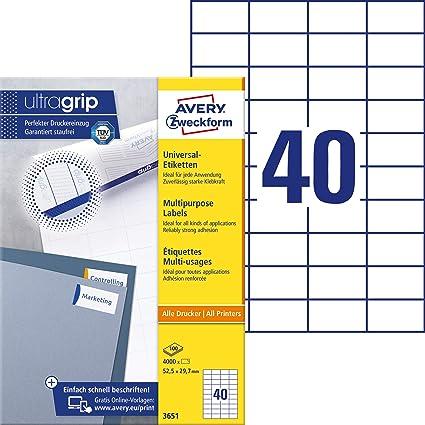 4000 Etiketten 52,4 x 29,7 mm Blatt weiß auf DIN A4 weiß selbstklebend