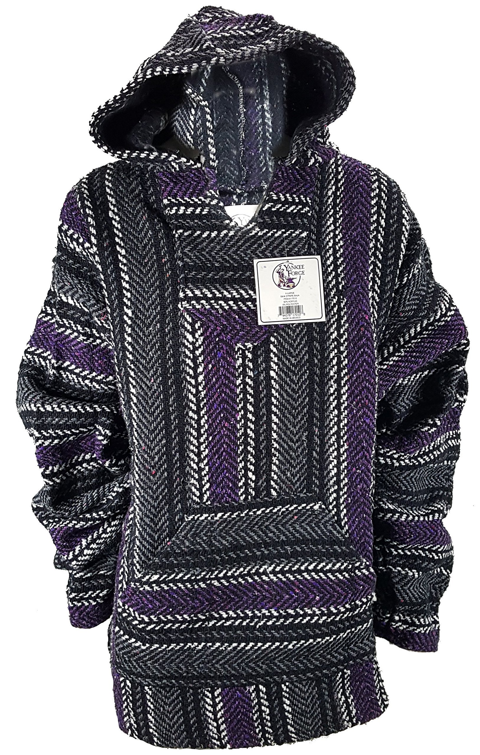 Yankee Forge Large Baja Shirt - Black & Purple Stripe - Woven Hoodie - Soft Brushed Inside - Unisex Pullover