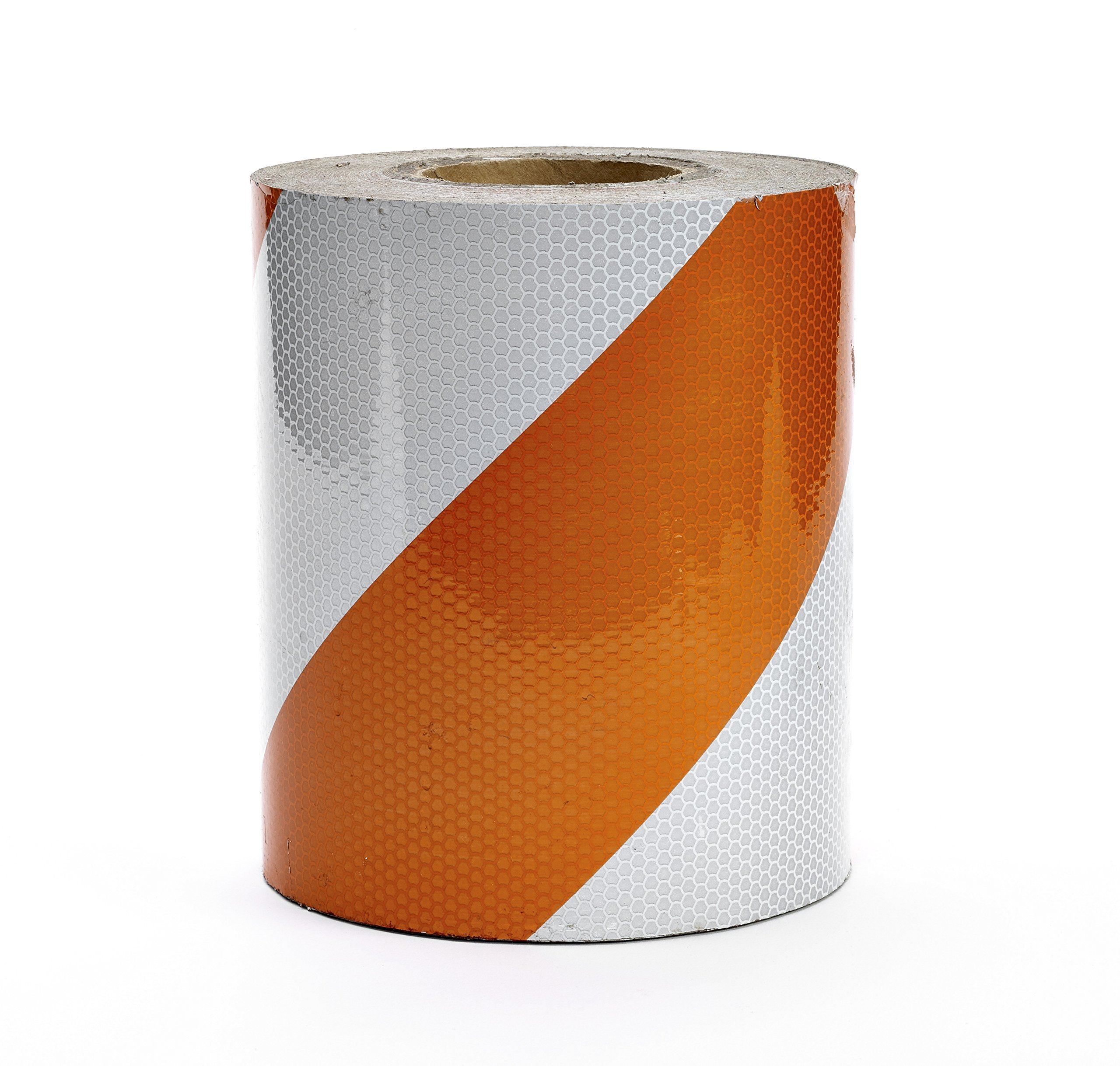 Mutual Industries 17795-1-8000 Engineering Grade ASTM Type I Reflective Barricade Tape, 8'' x 50 yd, Orange/White Stripe