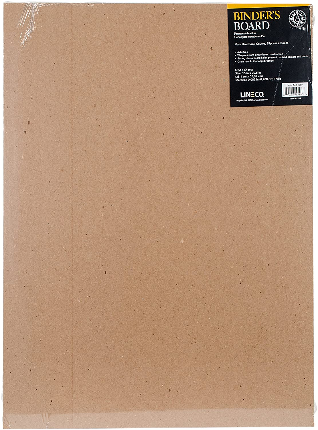 Lineco Binder's Board 15 in. x 20 1/2 in. 0.079 pack of 4 473-4080