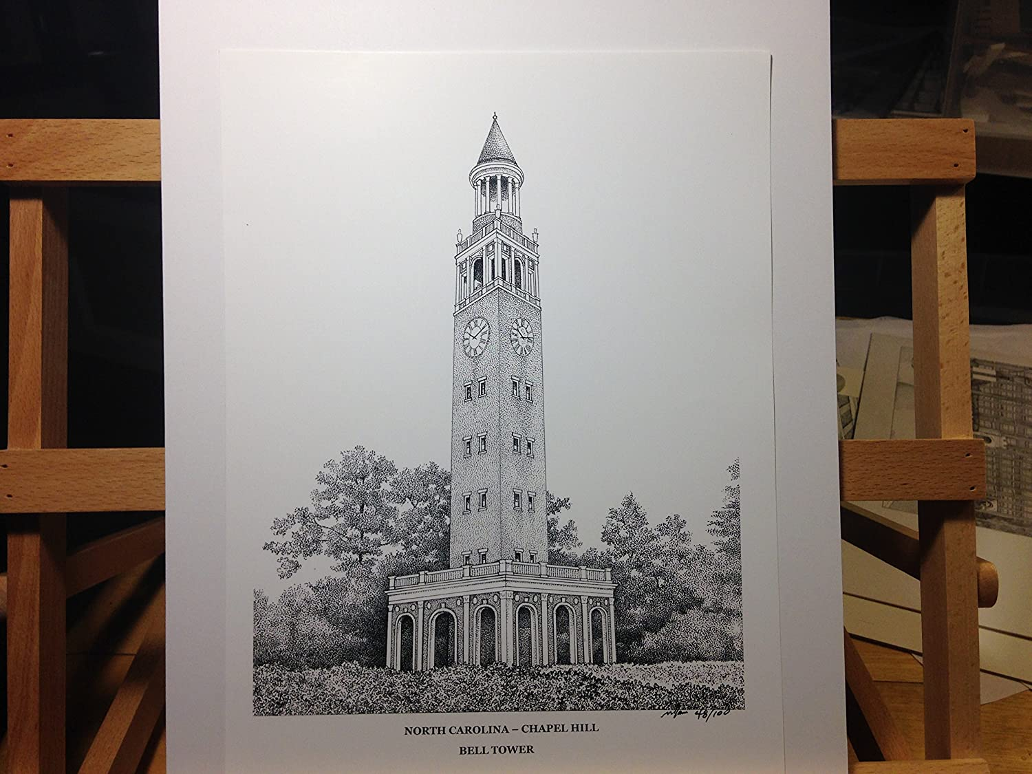 University of North Carolina 'Bell Tower' 9'x12' pen and ink print