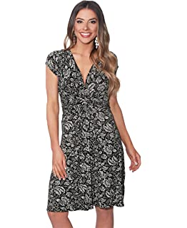 01aa57154cb KRISP Womens Fashion Casual Floral V Neck Knot Front Dress Long Cap Sleeves  Tunic