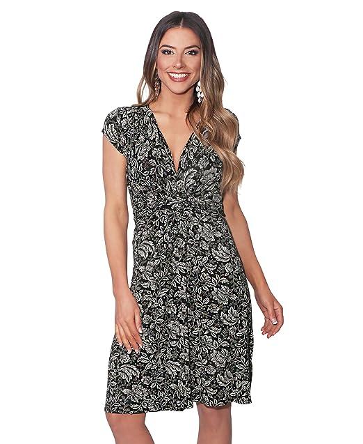 b718045b539 KRISP Womens Fashion Casual Floral V Neck Knot Front Dress Long Cap ...