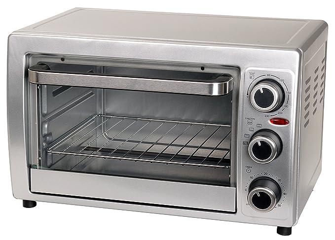 Efbe-Schott Mini-Ofen mit Backblech, Grillrost und Herausnehmhilfe (100-230°C), 15 l Innenraumvolumen, 1300 W, Metall/Glas, S
