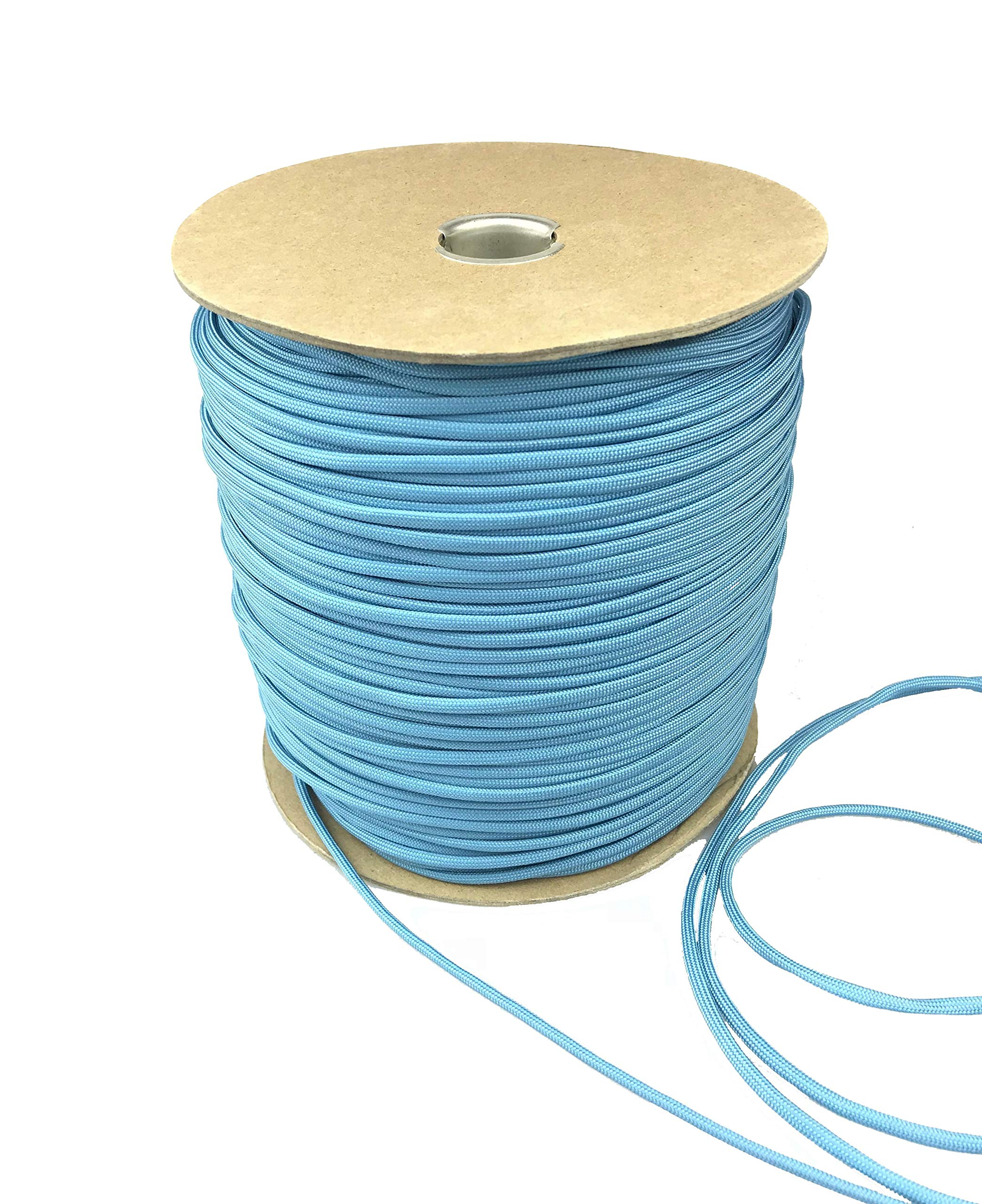 Paracord 550 Type III 7 Strand Multi-Purpose Parachute Cord in 1000 and 100 Foot Spools. Used for Camping, Hiking, Boating, Survival, and Crafting. 100% Nylon-Made in the USA (Light Blue, 1000.00)