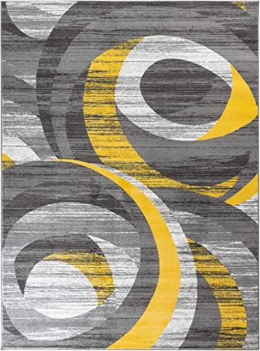 Majestic Looms m1003a Yellow Grey Modern Abstract Area Rug Carpet. 9×12