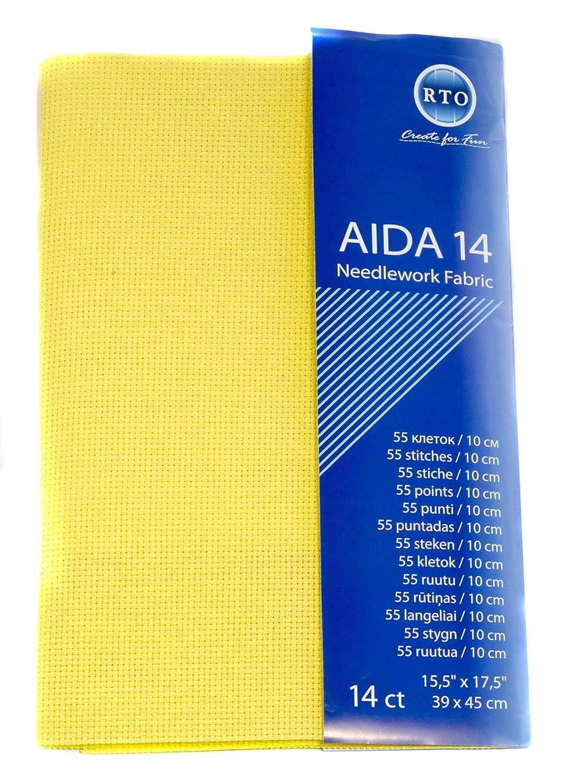 100/% Cotton 4x17x1 cm RTO Aida 18 Count Black 39cm x 45cm