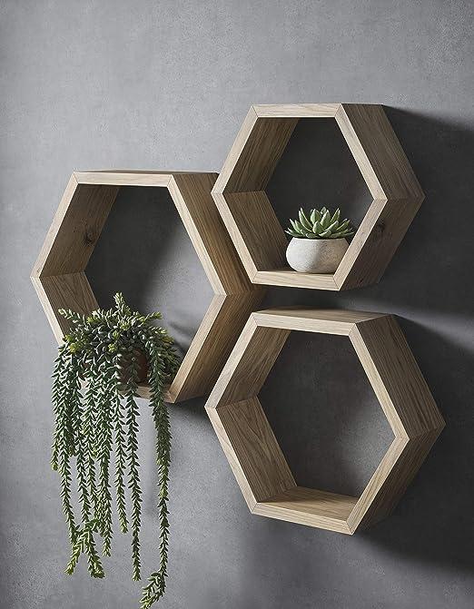 Duck Woodworks Juego de estantes hexagonales, juego de ...