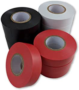 Electrical Tape - 12 Pack - White, Black and Red Rolls of Electric Tape - Each Roll is 19mm x 18.2m - Flame Retardant Heavy Duty PVC Backed Adhesive Tape For Insulating Wires And Repairs