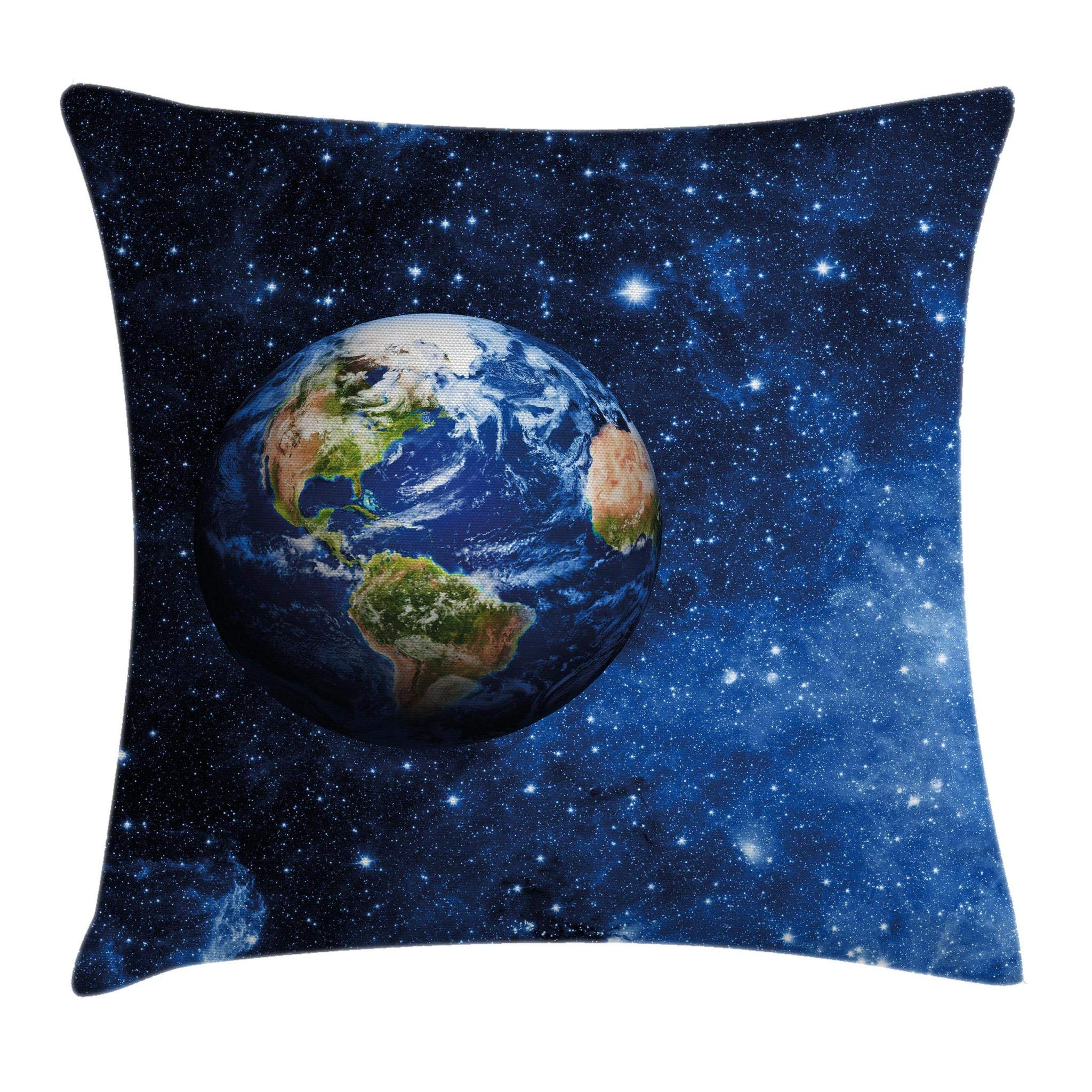 Ambesonne Space Throw Pillow Cushion Cover, Outer View of Planet Earth in Solar System with Stars Life on Globe Themed Image, Decorative Square Accent Pillow Case, 18 X18 Inches, Blue Green