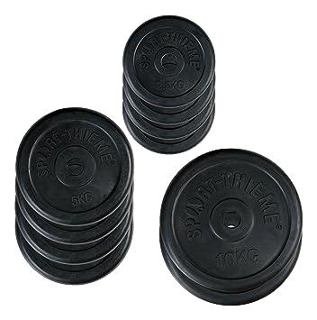 Sport-Thieme - Juego de Discos de Pesas de Caucho, 50 kg Set: Amazon.es: Deportes y aire libre