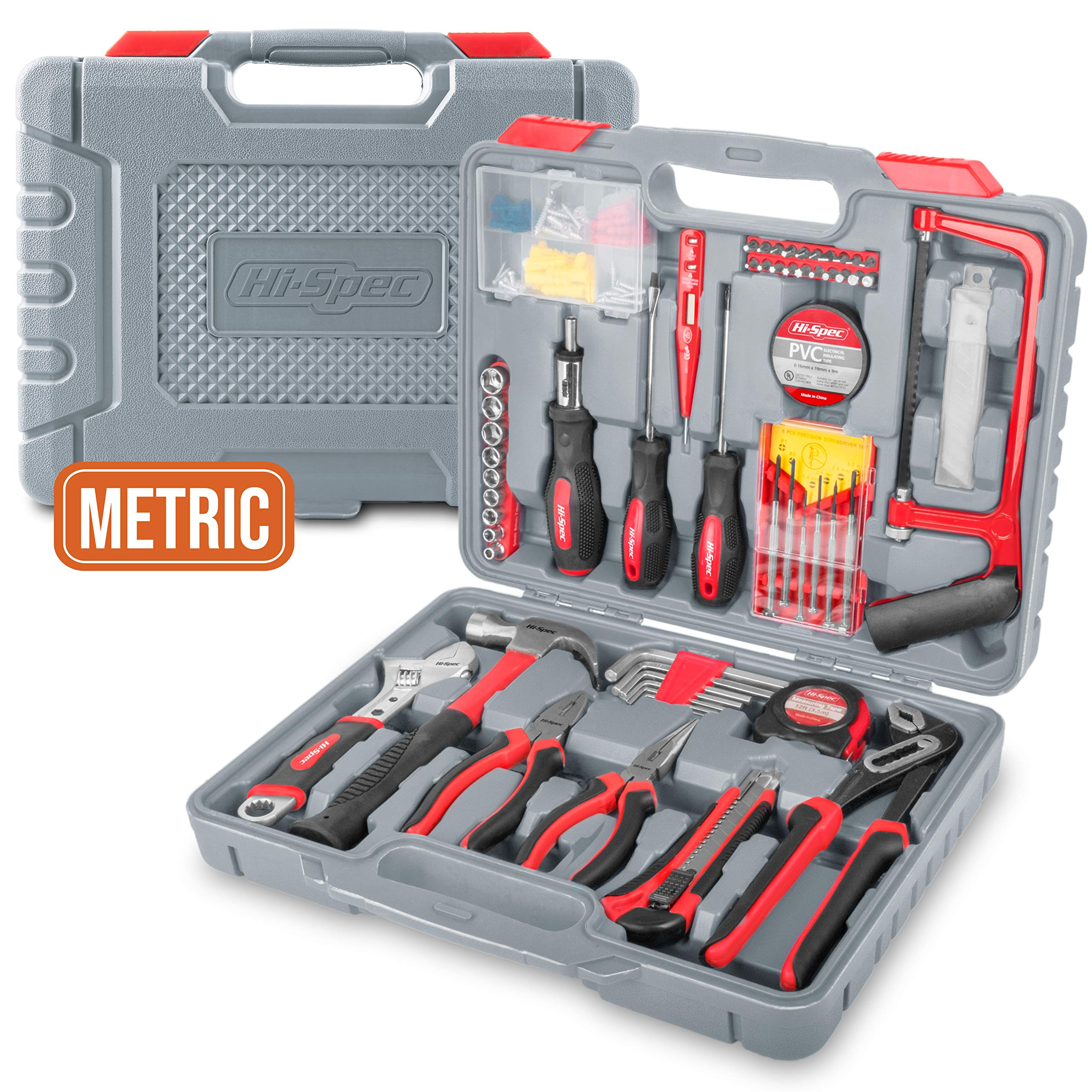 Hi-Spec 120 pc Home & Garage Tool Kit with Long Nose Pliers, Tongue and Groove Pliers, Ratcheting Bit Driver, Claw Hammer, Hack Saw, Precision Screwdriver Set, Adjustable Wrench & Sockets Tool Set