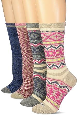 Wool IQ Women's Warm Fair Isle Crew Boot Sock 4-Pack, Blue, Pink ...