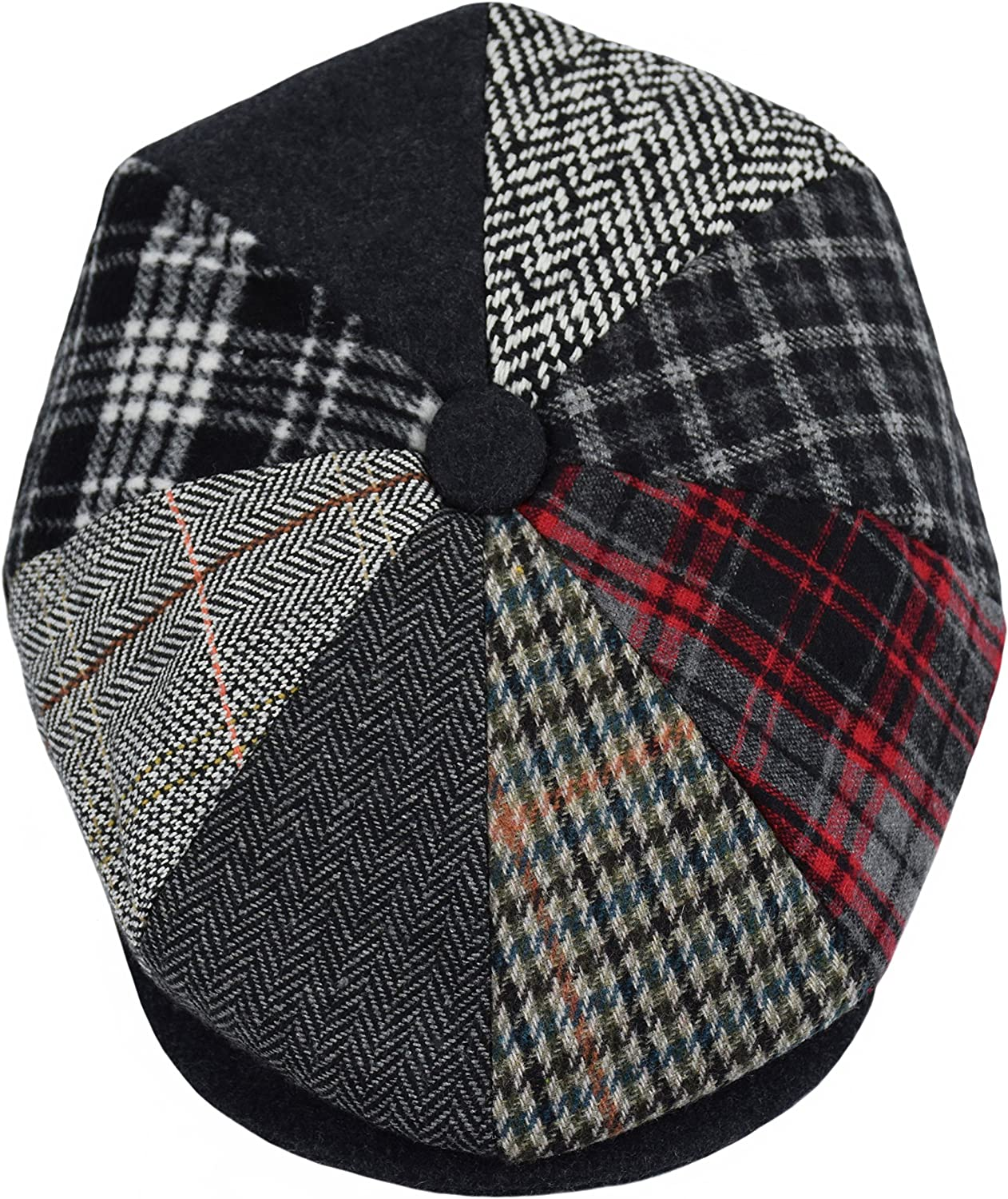 urbanhatshop Men's Wool Herringbone Newsboy Cap Driving Cabbie Tweed Applejack Golf Hat