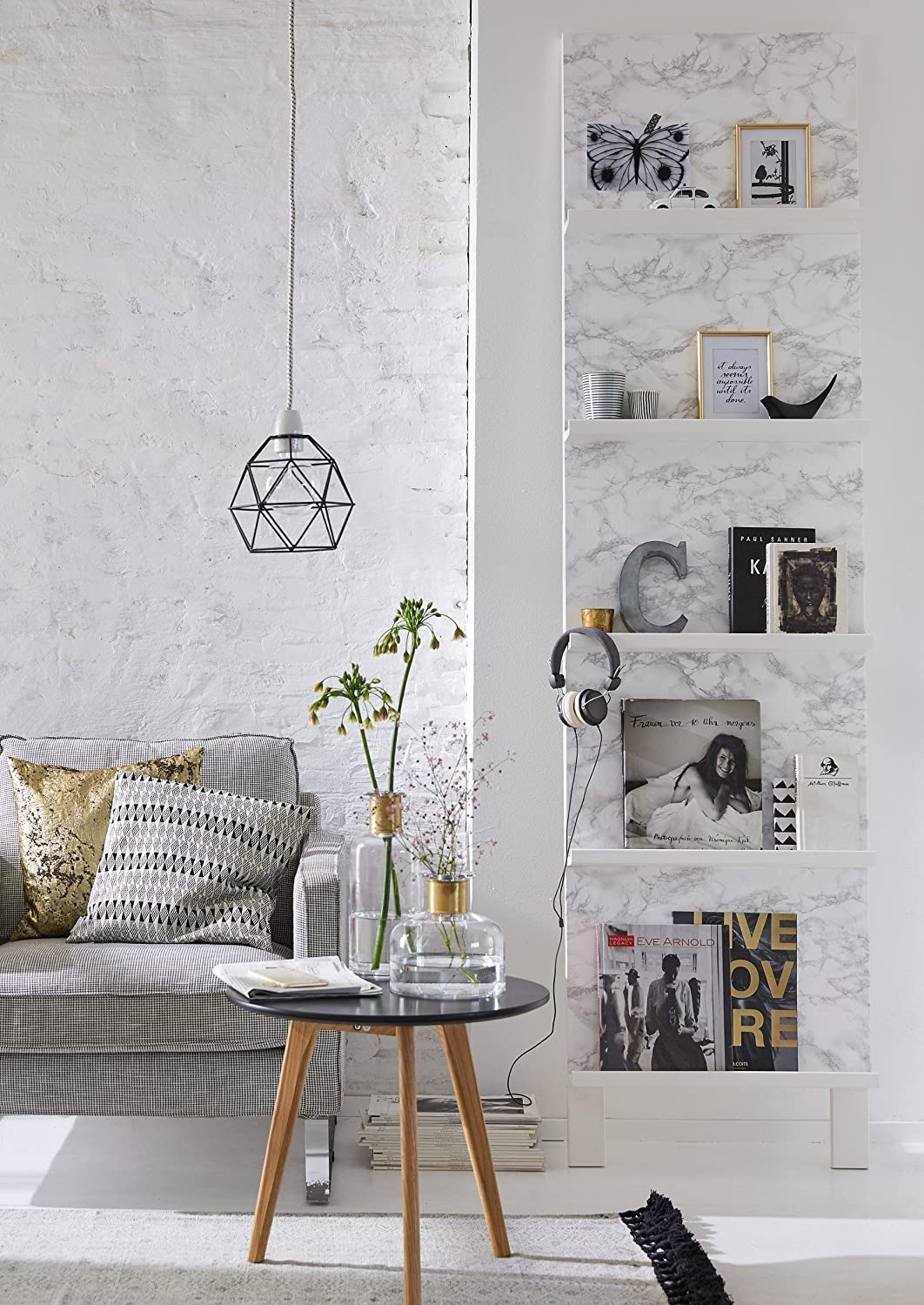 Marble contact paper used as wallpaper in a DIY - 25 Amazing Finds Under $25 & Fun Quotes to Make You Smile!