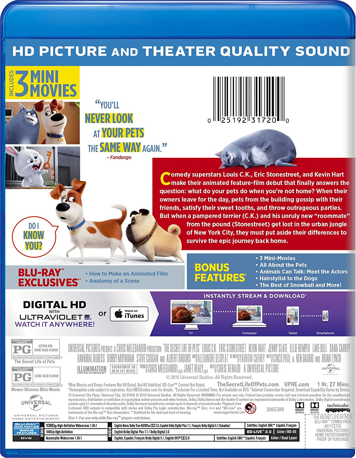 Amazon The Secret Life Of Pets Blu Ray Louis Ck Eric
