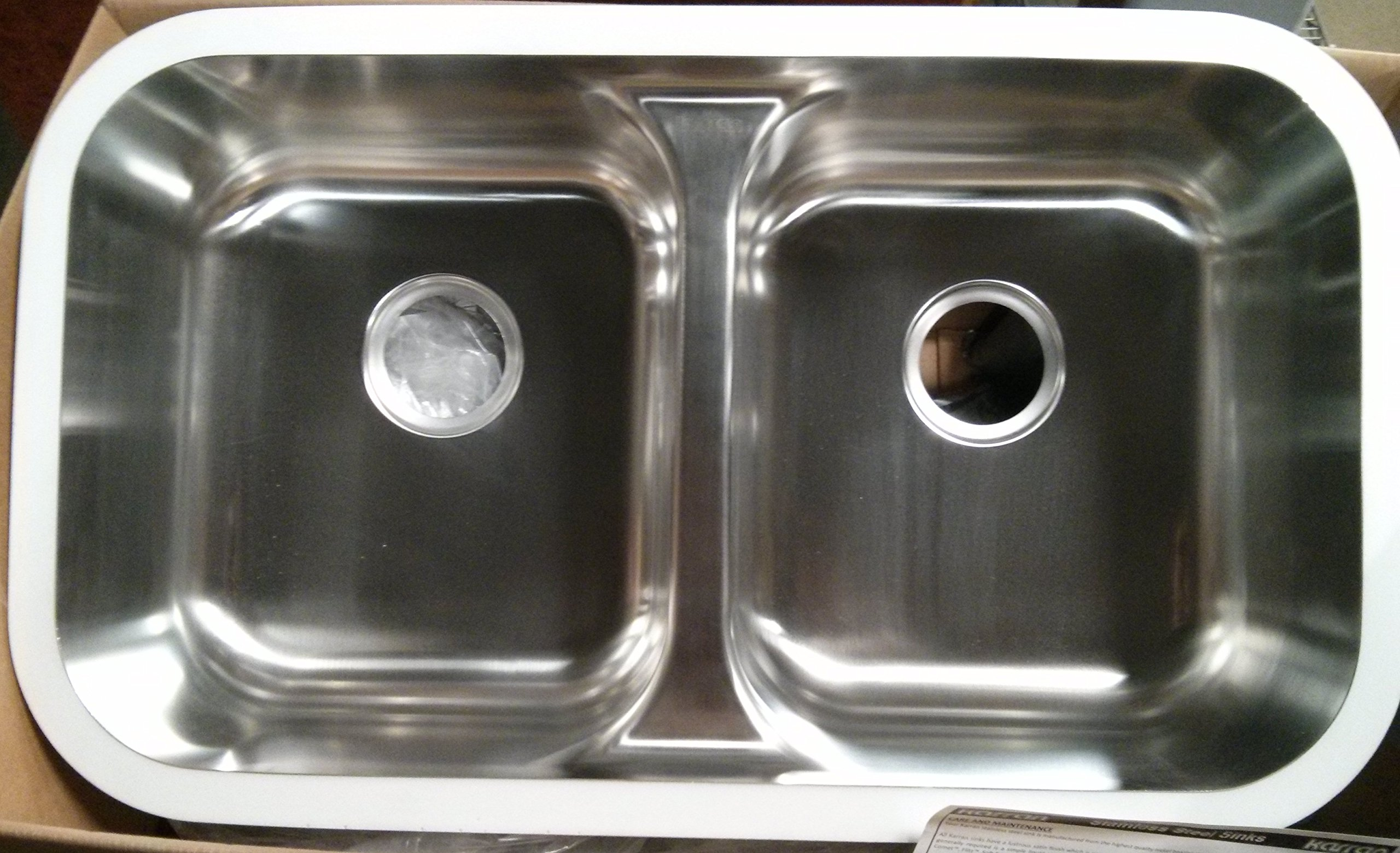 Karran E-350-S Polished Undermount 50/50 Double Bowl 18 gauge Stainless Steel Kitchen Sink