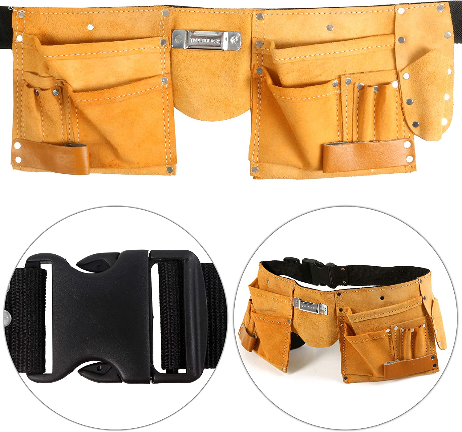 11 Pocket Genuine Tan Leather Tool Belt with Adjustable Quick Release Strap