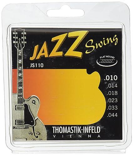 Thomastik Cuerdas para Guitarra Eléctrica Jazz Swing Series niquel Flat Wound juego JS110 Extra Light .